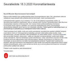 SEURATIEDOTE 18.3.2020