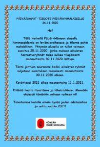Tiedote päiväryhmät 25.11.2020