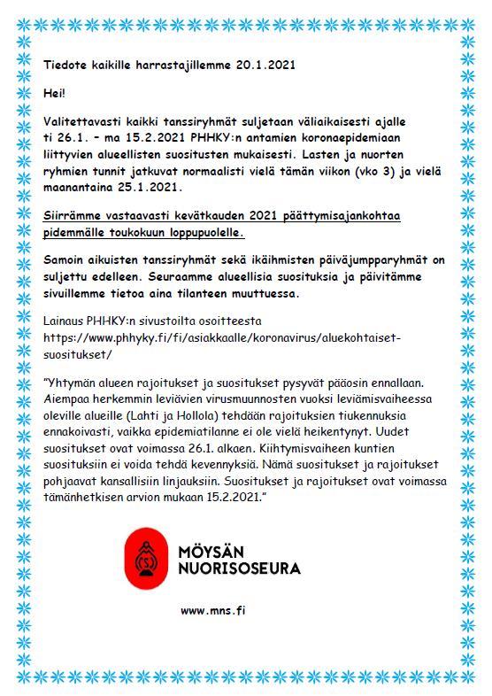 You are currently viewing Tiedote 20.1.2021 lasten ja nuorten harrastusryhmät